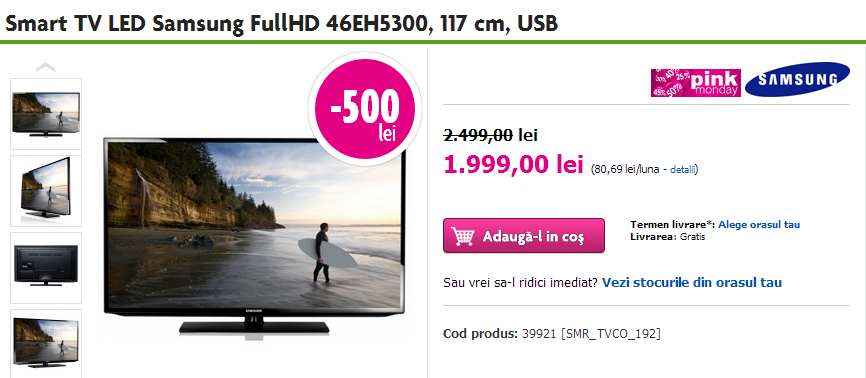 Smart TV LED Samsung FullHD 46EH5300  117 cm  USB   Domo